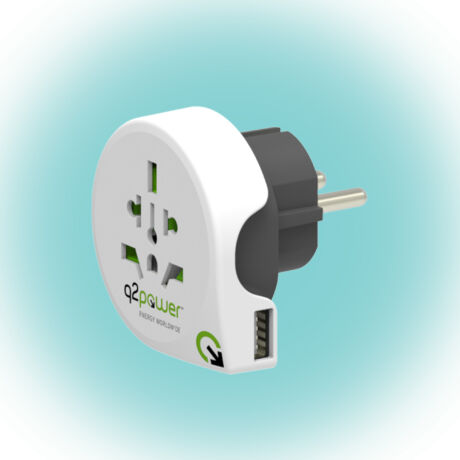 Q2 POWER Utazóadapter, World to Europe USB 1.100110