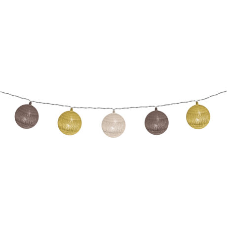 Somogyi  LED-es pamutgolyó arany-barna dekoráció fényfüzér CBL 11/B