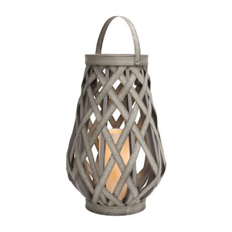 Somogyi Lámpás LED gyertyával szürke színű műrattan LTN 23 L