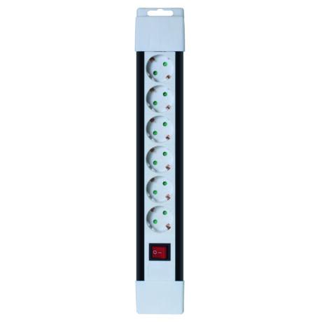 Hálózati elosztóHK6 2m kapcsolós 6 aljzat 2m PNV 06K/WH